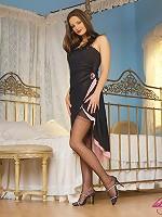 Leggy model Reesy teasing in design stockings