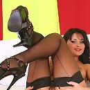 Leggy babe Luysan posing in sheer black nylon stockings