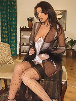 Hot Brunette In Stockings Shows It All