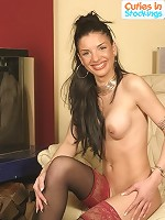 Nasty teen smoker dressed in lacy stockings only
