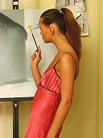 Artistic cutie dressed only in knee-length nylons