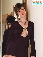 Terrific softcore model in hot nylon fetish shoot