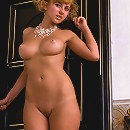 Blonde candy parts stockinged hips and shows pink