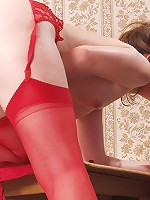 Fresh body, silky red, red stockings and nothing else