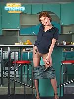 Girlie pulls denim mini up showing ass under nylon