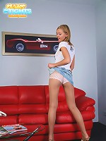 Teenage blondie poses in pantyhose and sexy undies