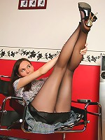 Black hose looks awesome with no panties under it