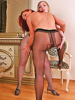 Hot licking & touching ass dressed in tights