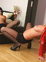 Busty dark-haired puss unleashed her nylon passion