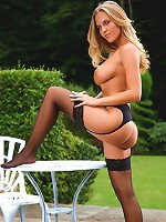 Blonde babes relaxes at home by stripping out of her lingerie in her garden.