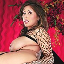 Fishnet top, big boobs, black stockings, and sex toys. What more could any red-blooded male ask for ... except for the girl who's wearing them? LOL!