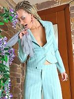 Stephana feeling her seductive pantyhose