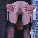 Upskirt French maid reveals a pair of classy nylons attached to her corset
