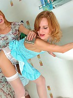 Two tipsy lez hotties flashing their nylons and garters tonguing wet slits