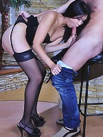 Exotic babe sucks meat before nylon legjob and steamy bonking in stockings