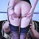 Hot brunette clad in all black with matching FF stockings gets crammed raw