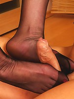 Freaky chick licks her nyloned feet after a hot quickie with her neighbor