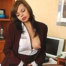 Mischievous secretary in black pantyhose having footsy amusement on table