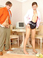 Sophia&Morris having nylon footsex