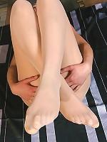 Viktoria masturbation dildo and duo-ball in pantyhose