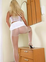 Polish cute blonde show ass in white pantyhose