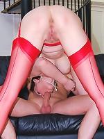 Redhead sucks cock