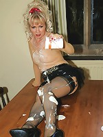 Nyloned milf gets messy