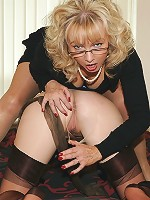 Blonde sub toyed by domme