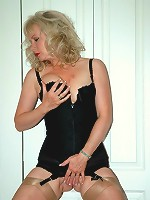 Shoe love for corseted blonde
