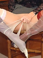 Layered hose and see-thru top for toying blonde