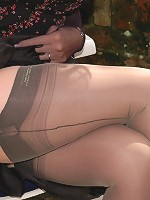Orgasmic toy play in nylons and hose