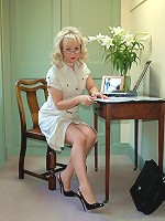 Office boss strips to sexy lingerie