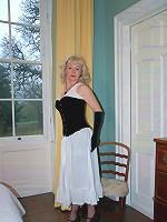 Vintage underwear for posing blonde
