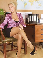 Horny office slut Lana plays with her pussy through her pantyhose