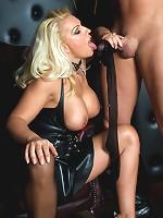 Mistress Lana makes her slave suck her feet before she sucks his dick