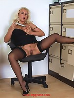 Sexy blonde Lana wearing gorgeous black lingerie and toying her pussy