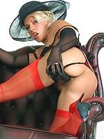 Lana Coxwearing gorgeous red high heels and masturbating