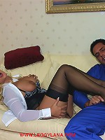 Kinky Lana pulls this guys cock out of his boiler suit and sucks it dry