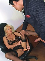 Leggy Lana takes a facial from a business man while fully clothed