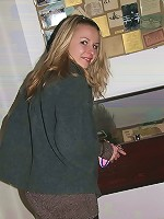Sexy teen pulls panties to one side