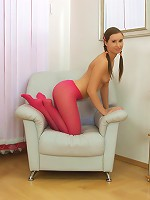 Beautiful teen in pink pantyhose seduces her boyfriend