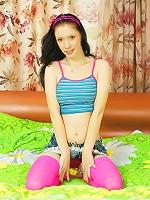 Seductive teen in pink hose enjoys nasty sex