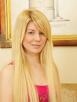 Slender blonde teen in striped tights enjoys hot sex