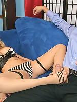 Blonde big breasts Kagney having stockings sex