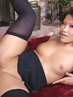 Asian babe Christina sucking dick in black nylons