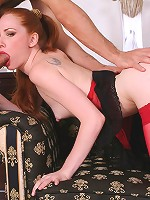 Redhead Luda gets drilled in her red stockings