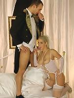 Blonde busty Brenda fucking on her wedding night