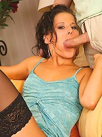 Marissa in black stockings giving footjob