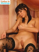 Nude romantic sweety in black patterned stockings