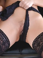 Stockinged brunette getting curious of her taste